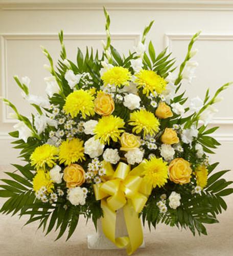 Heartfelt Tribute Yellow Floor Basket Arrangement Pittsburgh Pennsylvania Flower Delivery
