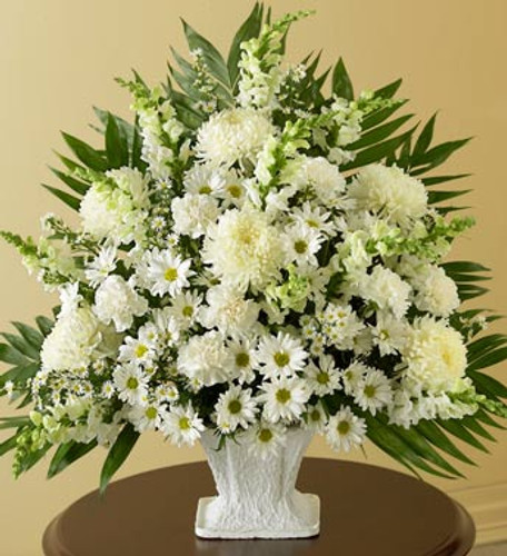 All White Funeral Basket