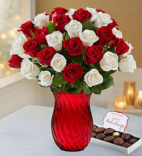 Send sensational holiday cheer with our fresh peppermint rose bouquet. Inspired by the classic peppermint pinwheel candy, our festive red and white blooms come in hearty gatherings of 18 or 36 stems. Add one of our stunning vases for even more sparkle and style.
