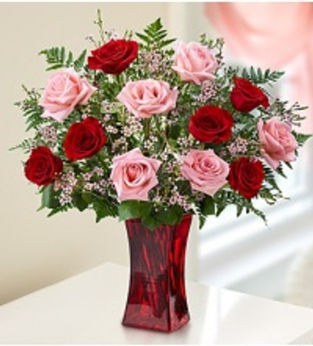 Pink and Red Rose Bouquet in Red Vase