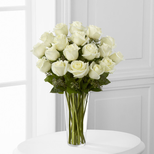 18 White Rose Bouquet Pittsburgh Pennsylvania Flower Delivery