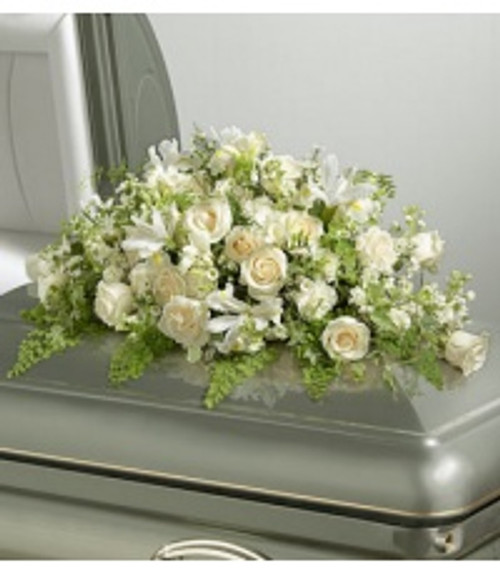 All White Casket Spray