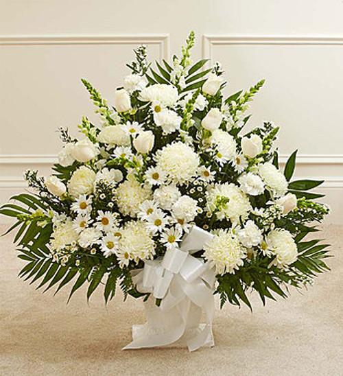 Heartfelt Tribute White Floor Basket Arrangement Pittsburgh Pennsylvania Florist