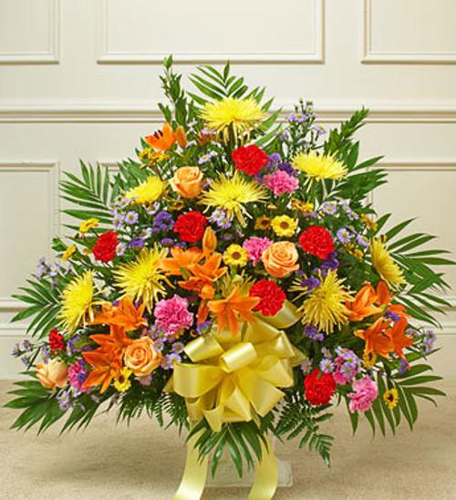 Heartfelt Tribute Bright Floor Basket Arrangement Flowers Pittsburgh Pennsylvania