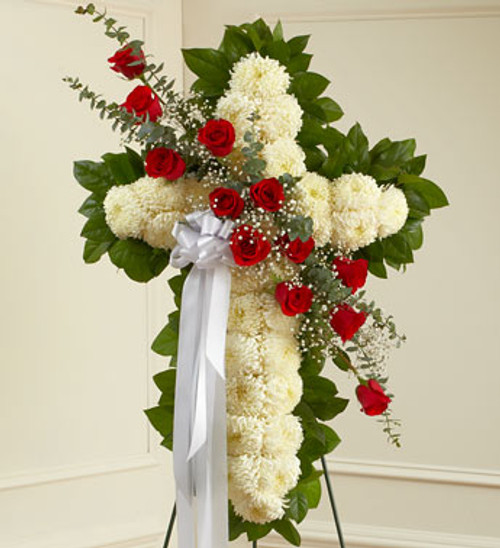 All White Cross with Red Roses
