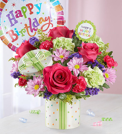 This delightful birthday arrangement will be sure to brighten anyone's special day!