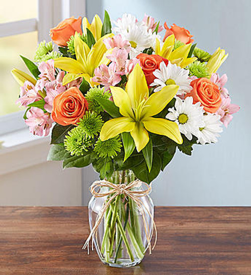 Fields of Europe The rustic beauty of hand tied bouquets fresh from a European flower market come alive in our best-selling arrangement. Handcrafted by our skilled artisan florists, this vibrant mix is gathered inside a clear glass vase tied with raffia for a touch of Old World charm.