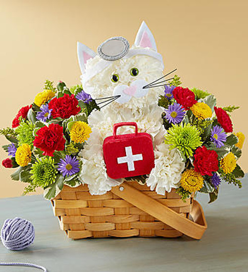 Cure-All Kitty EXCLUSIVE Looking for the purr-fect remedy to help them feel better? Our feline M.D. loves to make house calls! This cute, cure-all creation is surrounded by a bright bunch of blooms, and comes with her own doctor's kit. Add an uplifting balloon to get them on the mend in no time!