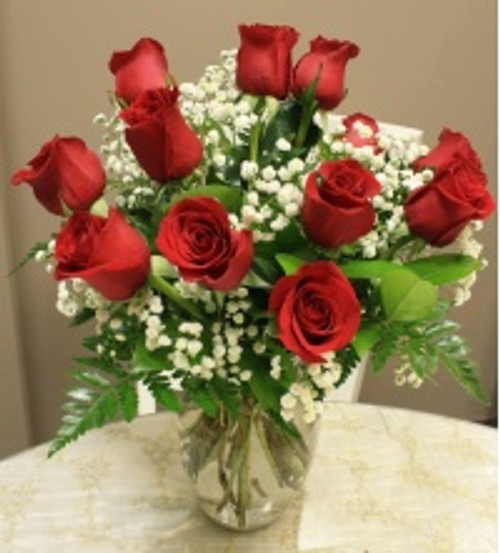 Dozen Short Stem Red Roses with Babies Breath
