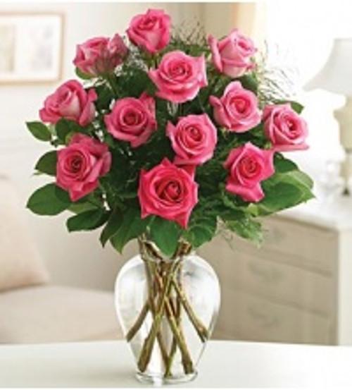 Dozen Long Stem Pink Roses with Greenery