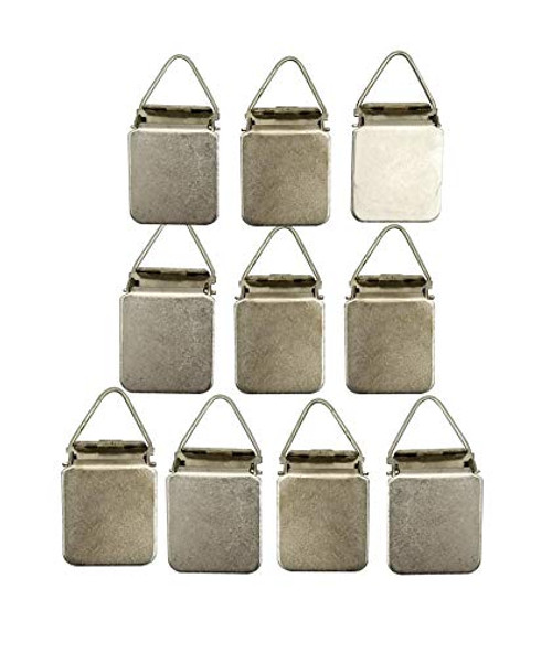 Hanging Clips Pack of 10 Chrome Triangle Back Medium Power for Tapestry Small Rugs, Towel, Shawl and Paintings