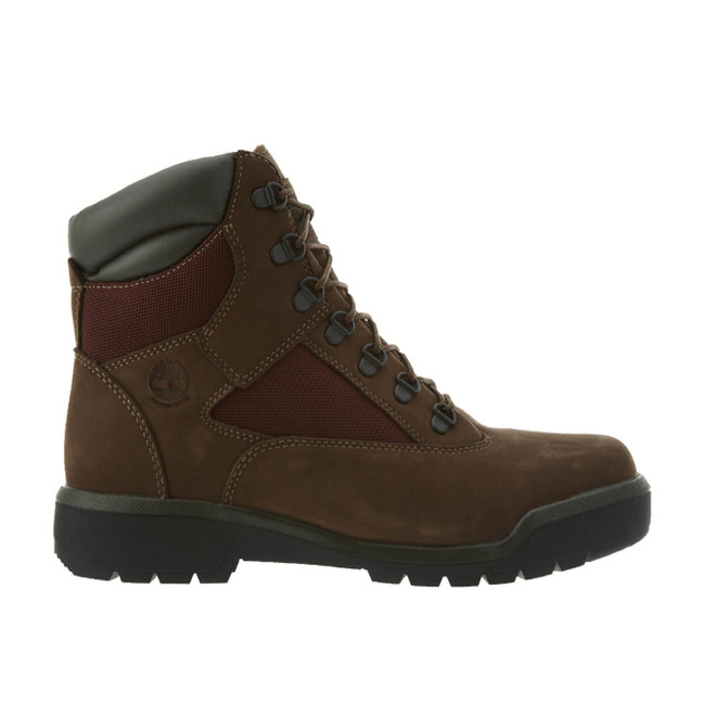 TIMBERLAND MENS 6INCH WATERPROOF FIELD BOOTS DARK BROWN