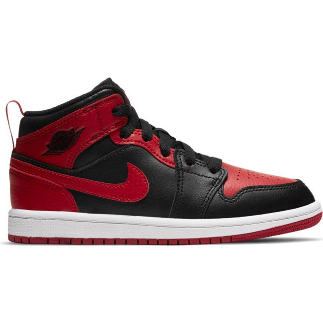 Jordan 1 Mid (PS) BLACK/GYM RED-WHITE