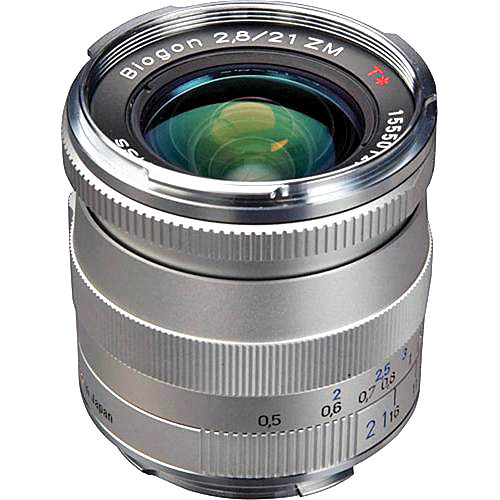 Zeiss Super Wide Angle 21mm f/2 8 Biogon T* ZM Manual Focus Lens for Zeiss  Ikon and Leica M Mount Rangefinder Cameras - Silver