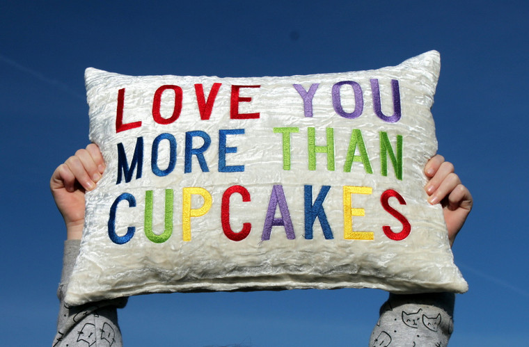 """""""LOVE YOU MORE THAN..."""" Embroidered Ivory Crushed Velvet Throw Pillow"""