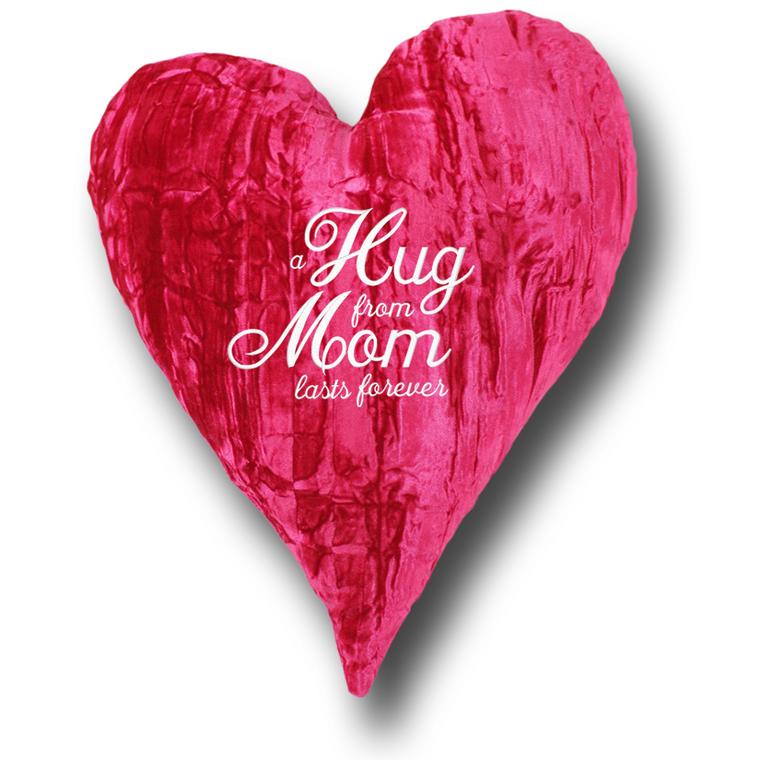 "'a HUG from MOM lasts forever' Customized 18"" Crushed Velvet Heart"