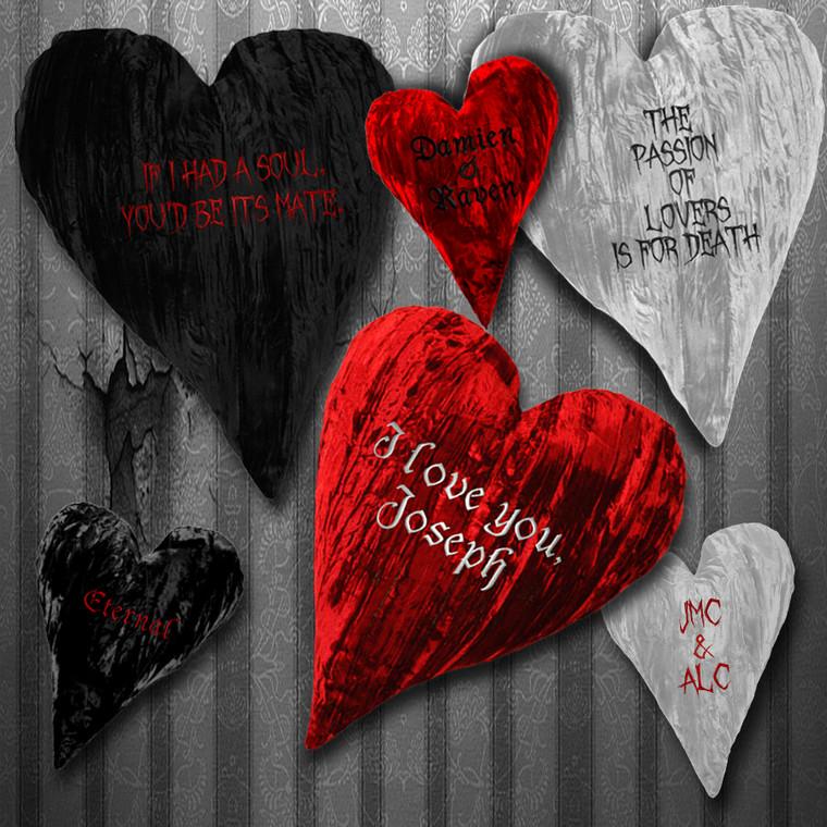 """12"""" & 18""""  Custom Crushed Velvet Heart Shaped Home Decor Throw Pillows"""