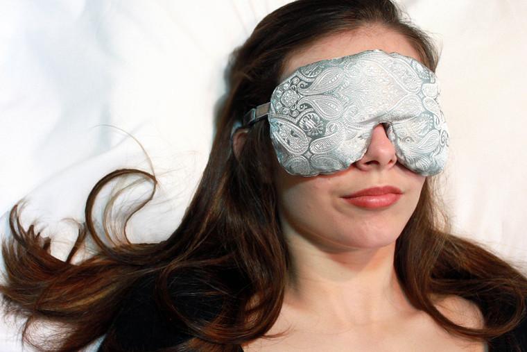 Sleep Eye Mask Pillow - Pewter Paisley