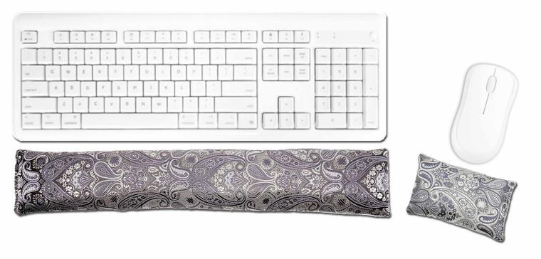 Keyboard & Mouse Wrist Pad - Pewter Paisley