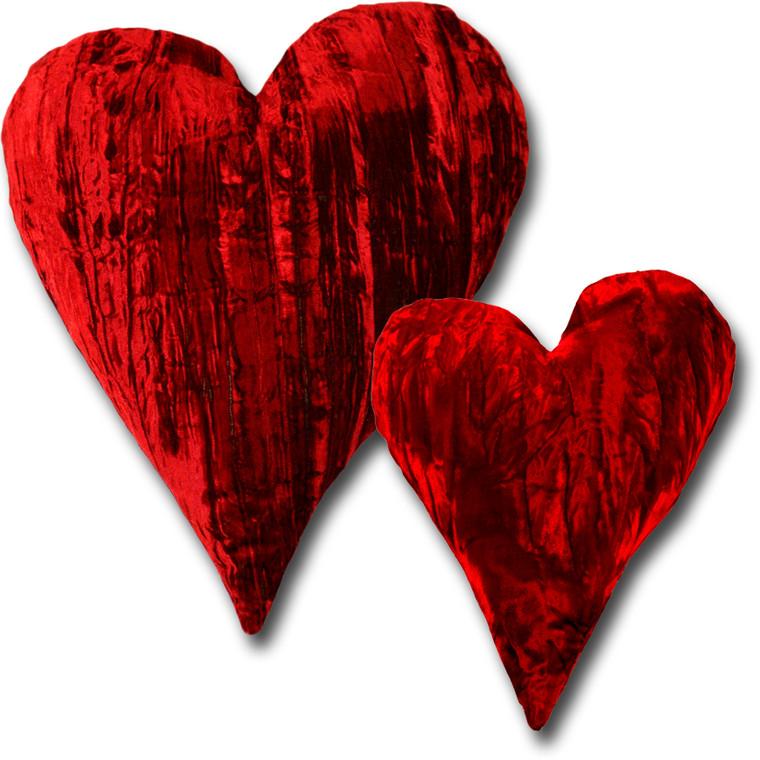 "12"" & 18""  Crushed Velvet Heart Shaped Home Décor Throw Pillows"