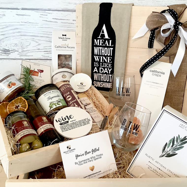 Artisan Impression Happy Hour Box featuring gourmet wine inspired charcuterie.  foodie items and wine  inspired gourmet foodie