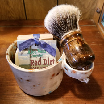 handmade shave set, natural soap, red dirt soap