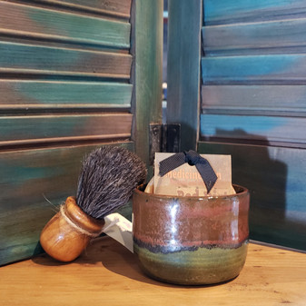 horse hair brush, handmade stoneware shave set, natural soap, red dirt soap