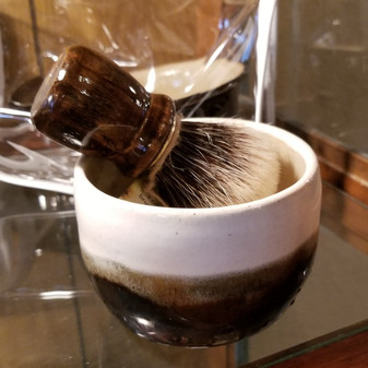luxury badger brush, handmade stoneware shave set, natural soap, red dirt soap
