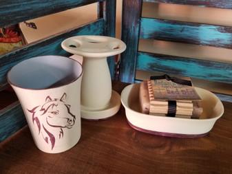 bathroom set, red dirt soap, natural skin care