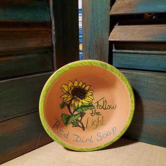 sunflower, soap dish, terracotta, red dirt soap, handmade, made in oklahoma, natural skin care