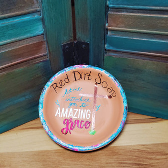 amazing grace, Jesus, soap dish, terracotta, red dirt soap, handmade, made in oklahoma, natural skin care