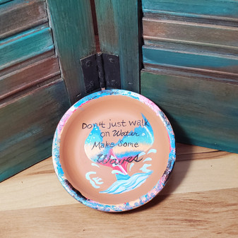mermaid, walk on water, Jesus, soap dish, terracotta, red dirt soap, handmade, made in oklahoma, natural skin care