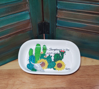 sunflower, cactus, cacti, soap dish, ceramic, red dirt soap, handmade, made in oklahoma, natural skin care
