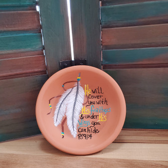 feather soap dish, psalm 914, terracotta, red dirt soap, handmade, made in oklahoma, natural skin care