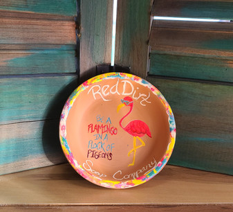 flamingo, flamingo dish, soap dish, hand painted, made in usa, made in oklahoma, red dirt soap, terracotta, terra cotta dish