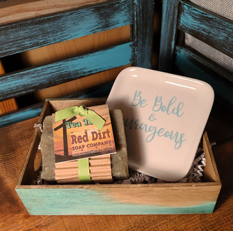 hand painted wooden gift box, natural bar soap, soap dish, red dirt soap, made in the USA, made in Oklahoma