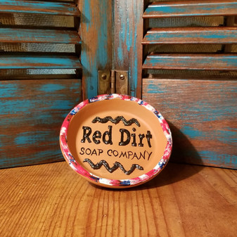 Hand painted Terracotta  Soap Dish -  Wave of  Pride of the Red White and Blue