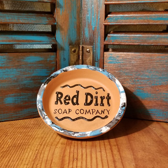 Hand painted Terracotta  Soap Dish - Wave of Twisted Turquoise