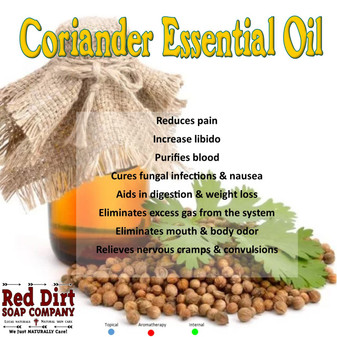 Coriander Essential Oil, Red dirt Soap