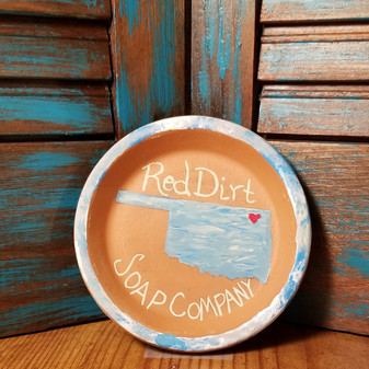 Hand painted Terracotta  Soap Dish -Oklahoma Blue Skies