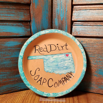 oklahoma, soap dish, terracotta, red dirt soap, handmade, made in oklahoma, natural skin care