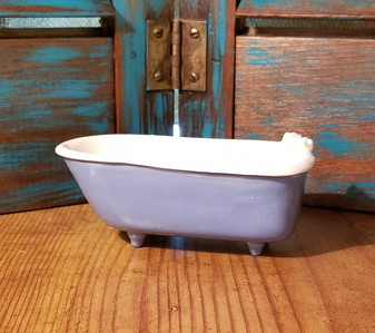 Claw Foot Bath Tub Soap Dish - Handmade in Oklahoma Blue Base