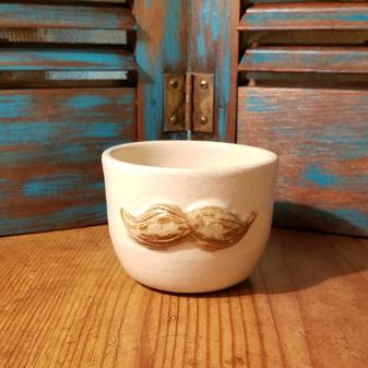 Sandy Shore Blonde Mustache Hand Thrown Stoneware Shave Mug