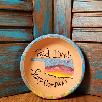 Hand painted Terracotta  Soap Dish -Oklahoma Sunset
