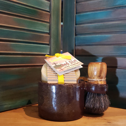 horse hair brush, handmade shave set, natural soap, red dirt soap