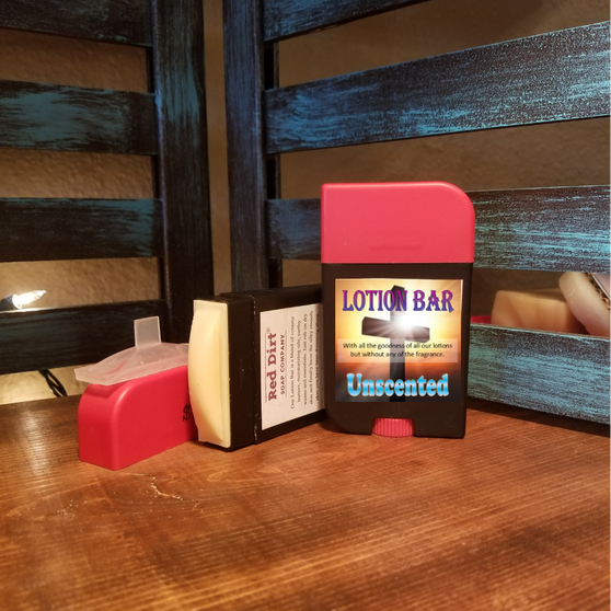 unscented lotion bar, red dirt soap