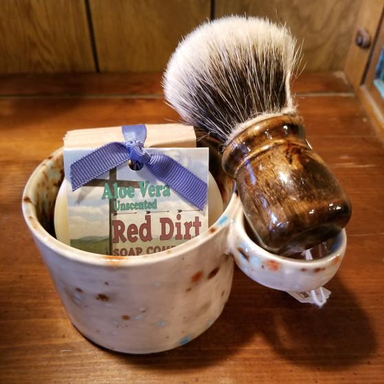 handmade shave set, natural soap, red dirt soap