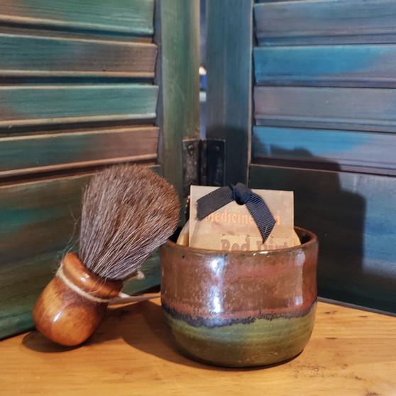 horse hair brush, handmade stoneware shave set, natural soap, red dirt soap