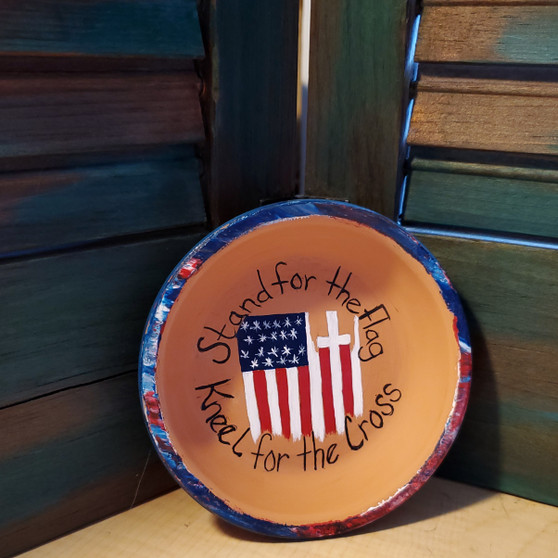 flag, cross, america, Jesus, soap dish, terracotta, red dirt soap, handmade, made in oklahoma, natural skin care