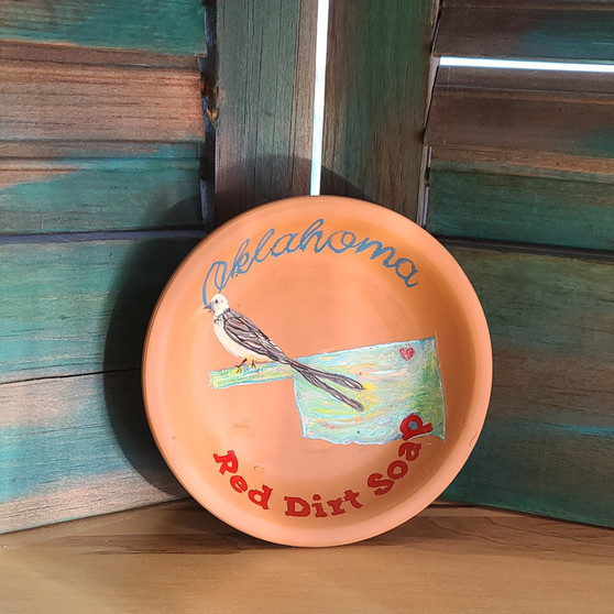 scissortail soap dish, oklahoma soap dish, dish, soap dish, hand painted, made in usa, made in oklahoma, red dirt soap, terracotta, terra cotta dish